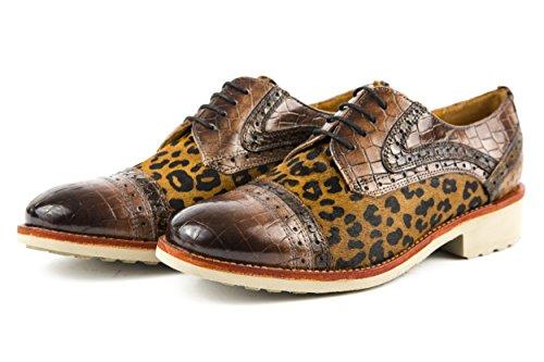 Melvin & Hamilton - Zapatos de cordones de charol para mujer marrón marrón 37