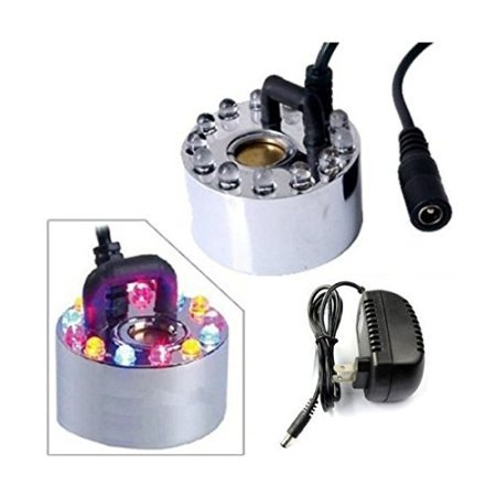 Upstore 12 LED Lights Mist Maker Fogger Replacement Mister Ultrasonic Mist Maker Water Fountain Pond Fog Machine with Power Supply