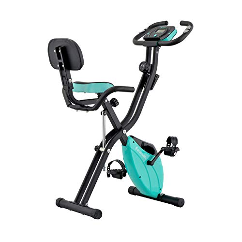 Harvil Foldable Magnetic Exercise Bike with 10-Level Adjustable Magnetic Resistance and Pulse Rate Sensors - Aqua