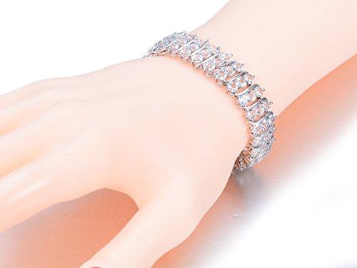 hutang Jewelry Argent Massif 925Argent Sterling 25.74CT aigue-marine naturelle Bracelets pour Femme Fine Design