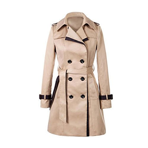 Breasted Belt - ELINKMALL Women's Elegant British Style Double Breasted Trench Coat With Belt (XL, Brown)