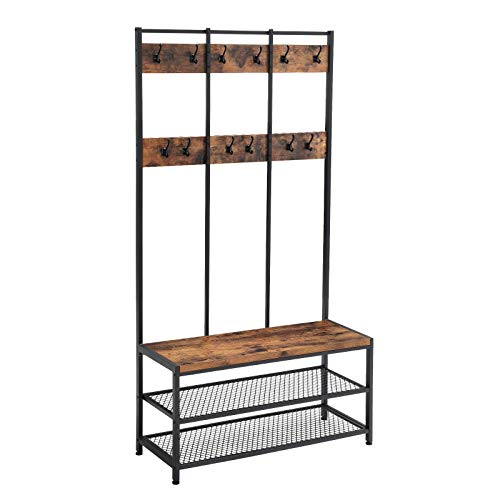 VASAGLE Industrial Coat Rack Shoe Bench, Hall Tree Entryway Storage Shelf, Large Size, Wood Look Accent Furniture with Metal Frame, Easy Assembly UHSR86BX ()