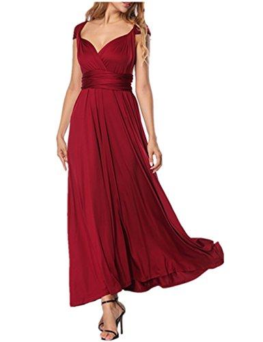 SELUXU Vestido de Las Mujeres de Alta Cintura Convertible Multi-Forma Abrigo Dama de Honor Formal Largo Vestidos Maxi Transformador/Infinito Vestido Tinto de Vino