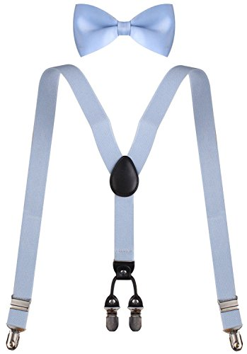 WDSKYBoys Leather Suspenders Baby Blue Suspenders Light Blue Bow Tie Light Blue (Clown Outfit For Kids)