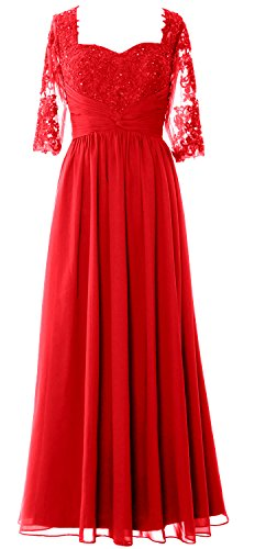 MACloth Women Half Sleeve Mother of Bride Dress Lace Chiffon Formal Evening Gown Rojo