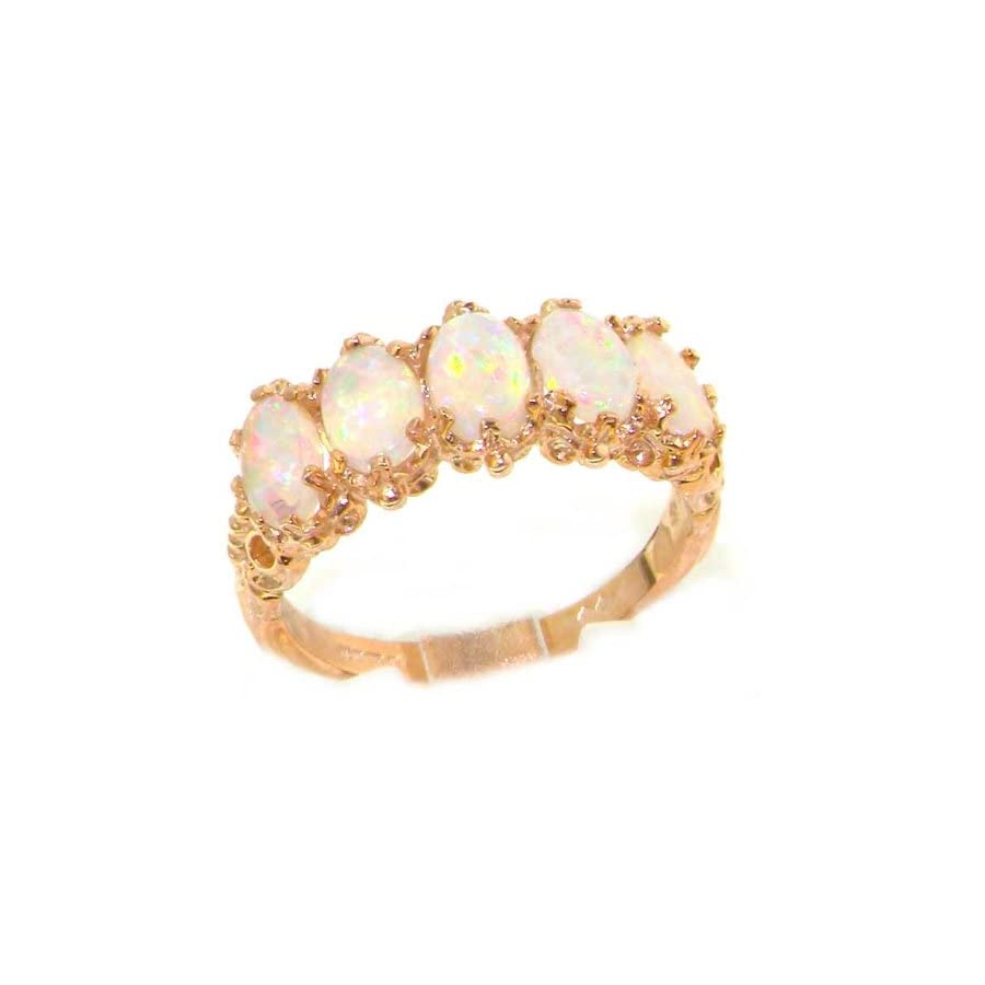 LetsBuyGold 14K Rose Gold Womens Colorful Fiery Opal Vintage Style Eternity Band Ring