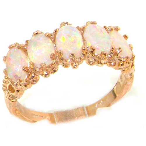 14K Rose Gold Womens Colorful Fiery Opal Vintage Style Eternity Band Ring - Size 8 - Sizes 5 to 12 Available by LetsBuyGold