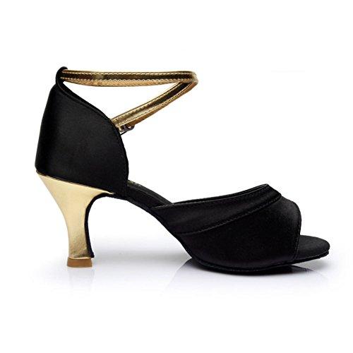 WYMNAME Mujeres Zapatos De Baile Latino,Tacones Mediados Fondo Blando Wear-Resistant Zapatos De Baile De Salón Sandalia Dorado