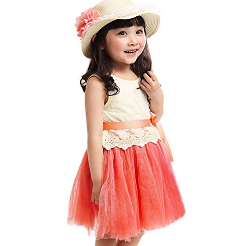 Urparcel Girls Sleevelesss Princess Tutu Dress Tulle Skirts Lace Partywear 1-5y