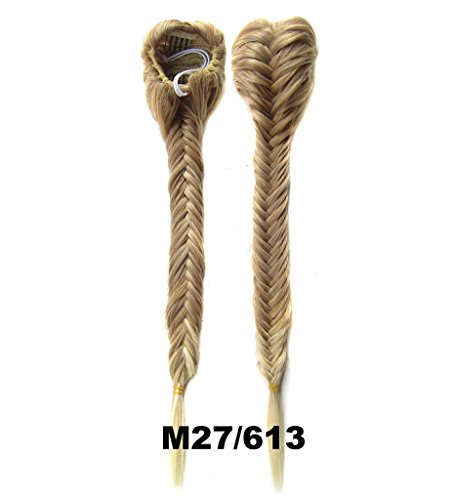 FESHFEN Long Cute Fishtail Braided Ponytail Clip in/on Braided Rope Hair Chignon Drawstring Braid Fishtail Plait Ponytail Hair Extensions Hairpiece 50cm 19 Inch 130g-Strawberry Blond and Bleach (Braid In Ponytail)