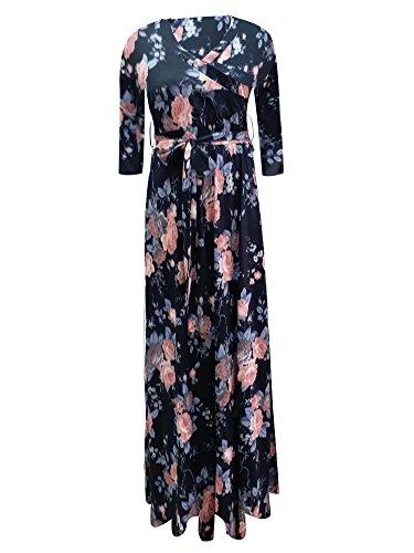 Liu & Qu Women's Draped 3/4 Sleeve Maxi Maternity Dress Front Tie Nursing Wrap Dresses Vestido Clothes Navy Pink Print L