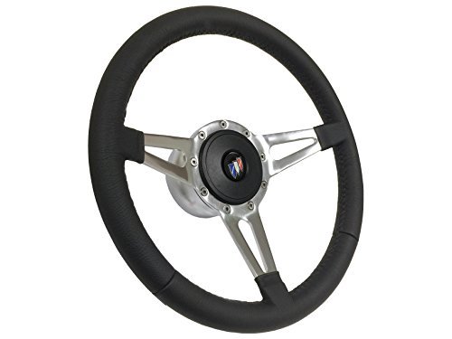 1969 - 1972 Buick 9 Bolt Tri Slot Spoke Black Leather Steering Wheel Kit, Hub, Horn Button & Buick Emblem (Buick Skylark Steering)