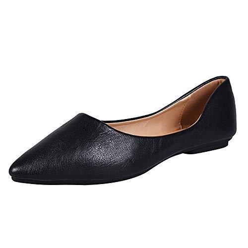 Meeshine Womens Comfortable Pointed Toe Ballerina Ballet Slip-on Dress Flat Shoes