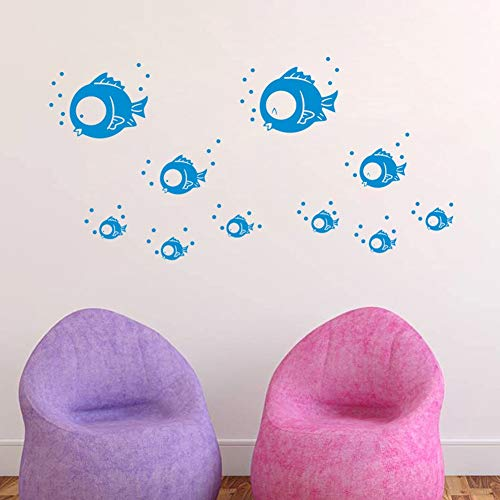 Tissue Bubble Fish - Eco-Friendly Wall Stickers Bluie Small Fish Bubble Wall Stickers Bathroom Child Wall Decals Decoration DianDianwl