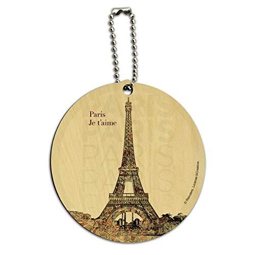 Paris, Je t'aime I Love You Eiffel Towe Round Wood Luggage ID Tag