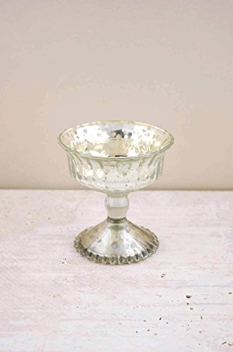Hobnail Compote - Silver Mercury Glass Compote 4.75in - Excellent Home Decor - Indoor & Outdoor