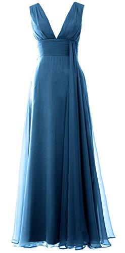 Women Prom Gown MACloth Long Neck Simple Bridesmaid Deep Chiffon V Dress Teal dwwz7B