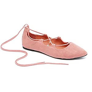 Charles Albert Ghille Lace up Pointy Toe Leg Tie Ballet Flat for Women-Comfortable- Ballet