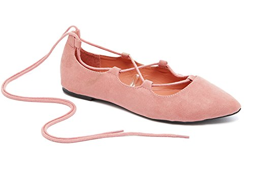 Charles Albert Ghille Lace Up Pointy Toe Leg Tie Ballet Flat (6, Blush)