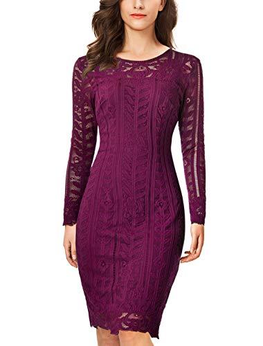 Noctflos Women's Purple Long Sleeve Lace Bodycon Pencil Dress for Cocktail Holiday Party (Medium, Purple)
