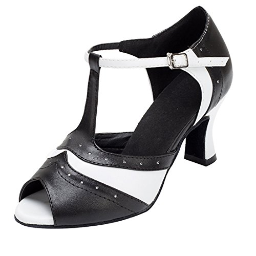 de danza noche Miyoopark para de puntera 7cm Sandalias deporte piel baile para Heel con White de Black salón mujer 5qqrFg6W