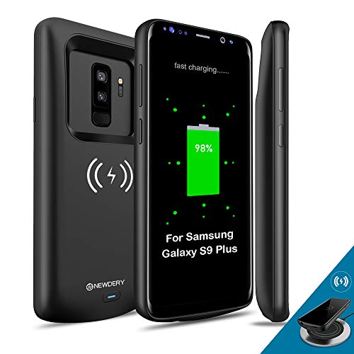 NEWDERY Upgraded Samsung Galaxy S9 Plus Battery Case Qi Wireless Charging Compatible, 5200mAh Slim Rechargeable Extended Charger Case Compatible Samsung Galaxy S9+ Plus (6.2 Inches Black) (Don T Be A Bully Be A Star)