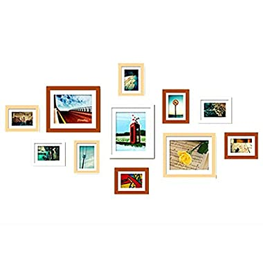 WOOD MEETS COLOR Wood Wall of Pictures, A combination of 11 Photo Frames, ESSENTIAL for every home, including White Picture Mats (Original & Orange & White)