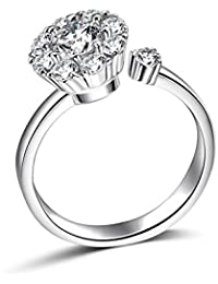 48fa5af1fd Rotate 3 Carat Round Cut Cubic Zirconia 925 Sterling Silver Women Wedding  Engagement Rings Anniversary Wedding