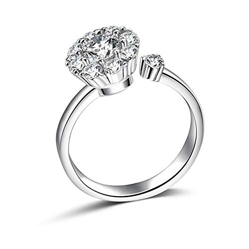 TZMY01 Rotate 3 Carat Round Cut Cubic Zirconia 925 Sterling Silver Women Wedding Engagement Rings Anniversary Wedding Bands for Lady - Sparkles Jewelry Eternal