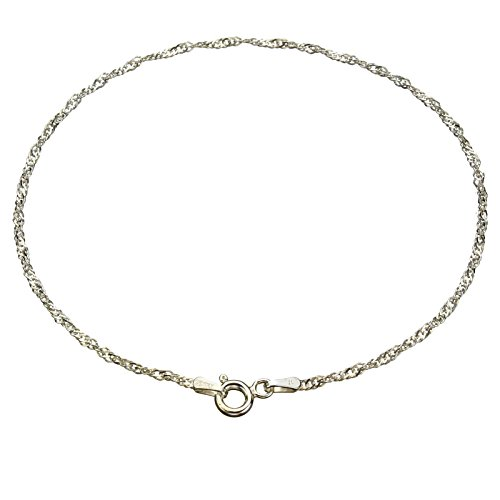 Sterling-Silver-Singapore-Nickel-Free-Chain-Anklet-Italy