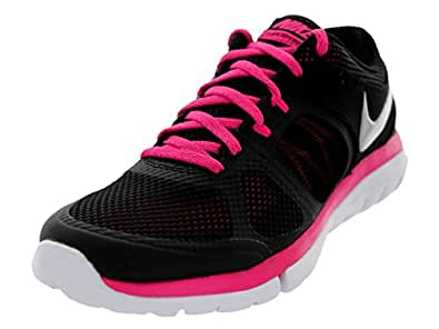 Nike Women's Flex 2014 RN Black/Mtllc Slvr/Vvd Pnk/White Running Shoe 6.5 Women US