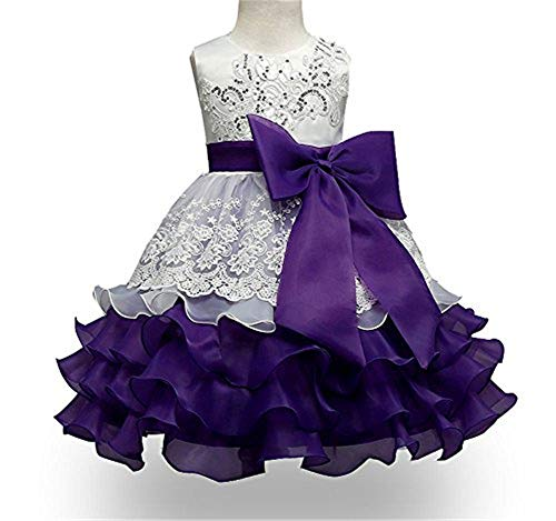 KISSOURBABY Girls Party Ruffles Dress Sleeveless Bridal Satin Baptism Children Clothing Chiffon Lace Dress (White Purple, 140) ()