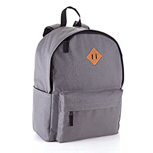JETPAL Everyday School Laptop Backpack fits up to 15.6 - Charcoal Gray & Brown