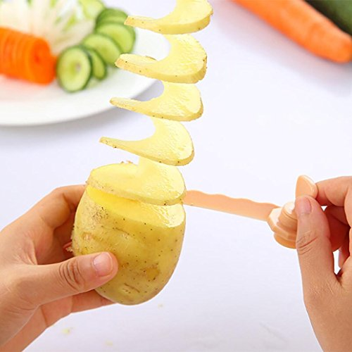 Potato Cutter,Magic Potato Cutter Carrot Spiral Slicer Cutting Models Kitchen Cooking Tools Food Cutter Kits Easy to Handle (Random Color) ()