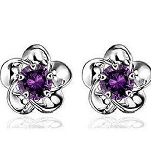 TOPOB 2019 New Womens Earrings, Fashion Plum Blossom Earrings Crystal Diamond Glittering Stud Earrings (Purple)