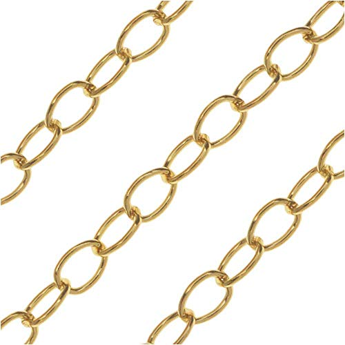 Chain Link Beads Cable Filled - Beadaholique Bulk Cable Chain, Oval Links 3x2mm, by The Inch, 14k Gold Filled