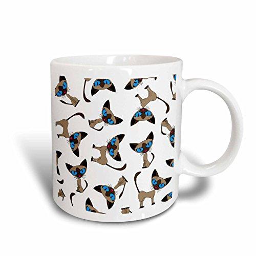 3dRose Siamese Cat Print White Ceramic Mug, 15-Ounce