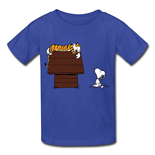 Kids Boys Girls Tee Calvin And Hobbes Tiger On Doghouse Snoopy RoyalBlue Size