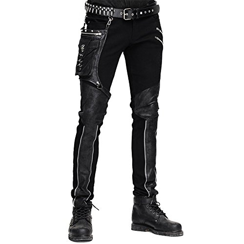 Please note the picture with sizes (the fifth picture) All of our measurement units are CM Gender:Men Style:Fashion,gothic,Punk Color:Black,Brown Size:S,M,L,XL,2XL,3XL(cm) S Length 108 Waist 83.5 Hip 98 Bottom 31.5 M Length 108.5 Waist 86.5 Hip 101 B...
