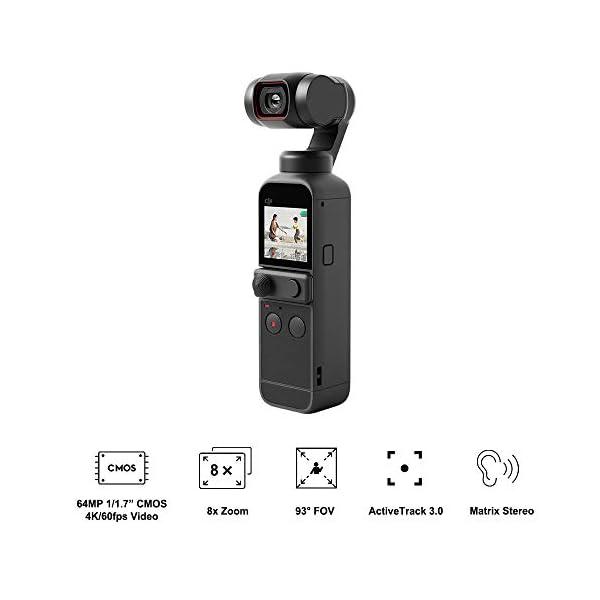 "DJI Pocket 2 Fotocamera Stabilizzata 3 Assi, Vlog, Video Ultra HD, Foto ad Alta Risoluzione da 64 MP, 1/1.7"" CMOS, Riduzione del Rumore, Timelapse, Slow Motion, Zoom 8x, Livestreaming 2 spesavip"