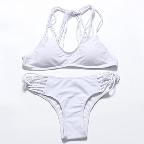 Traje de baño de moda multi-cuerda multicolor bikini spa traje de baño traje de baño de playa Blanco