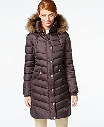 012c72428a272 Amazon.com  MICHAEL Michael Kors Hooded Faux-Fur-Trim Puffer Coat ...