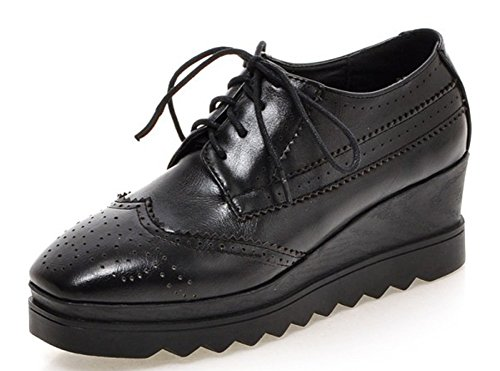 Shoes Toe Heels Square Women's Oxford Black Comfy Wedge Aisun wqtA60g