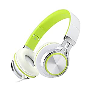 ECOOPRO Over Ear Stereo Headphones for MP3 MP4 PC Tablets Mobiles- Adjustable, Lightweight & Portable Green and White