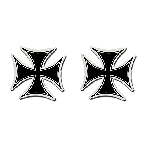 2 x PIC IRON CROSS - Small, Bikers Motorcycle Helmet, Sticker DECAL (Pair) - 3