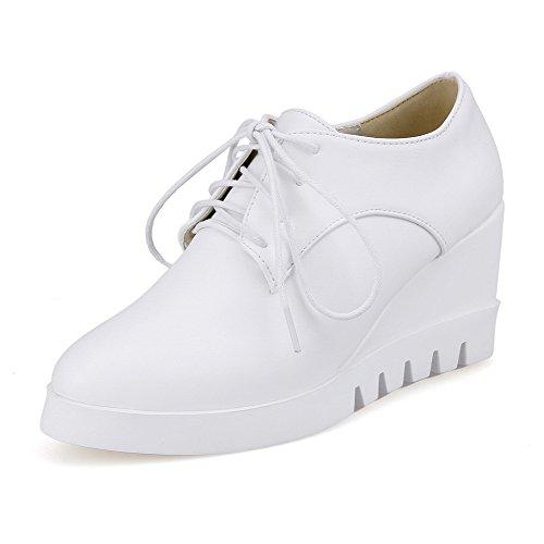 Delle Chiusa Bianco shoes Tacchi Rotonda Alti Pompe Donne Fino Pu Merletto Solida Punta Weipoot vOTx55