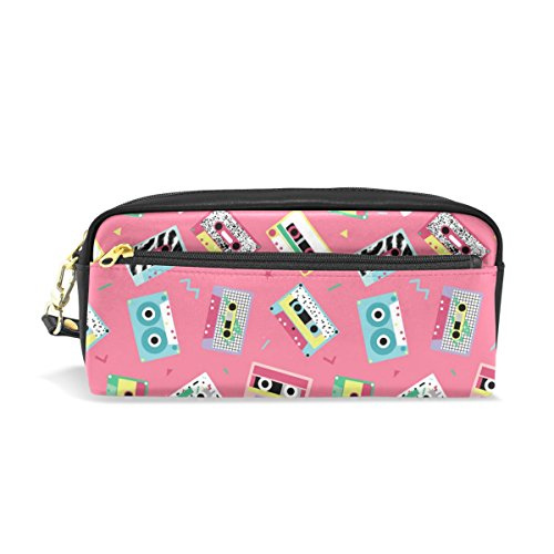 80s Style Makeup (My Daily Pink Pencil Case Audio Tapes in Retro 80s Style Pen Bag Pouch Coin Purse Cosmetic Makeup Bag)