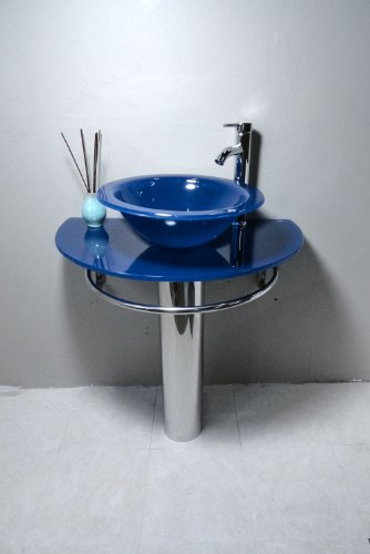 Bathroom Vanities Pedestal Glass Blue Sink Combo W Faucet