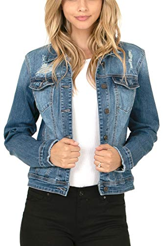 Women's Regular Long Sleeve Waist Length Distressed Denim Jacket Medium M