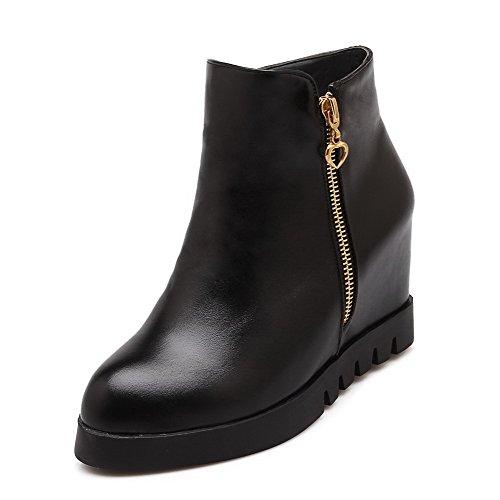 Amoonyfashion Dames Stevige Ronde Neus Blend Materialen Pu Lage Laarzen Zwart